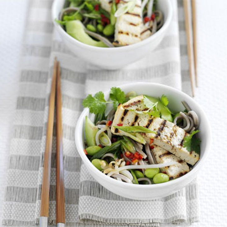 Soba Noodle & Edamame Salad With Grilled Tofu Recept | Yummly