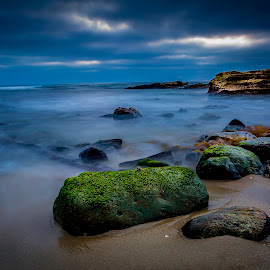 La Jolla Cove Landscape by Clifford Swall - Landscapes Beaches ( stormy beach, sand, san diego, la jolla cove, stormy sky, ocean, beach, rocks, mossy rocks )
