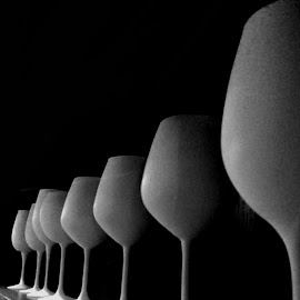 infinity by Zeljko Samardzic - Artistic Objects Cups, Plates & Utensils ( abstract, wine, black and white, wine glass, restaurant, infinity )