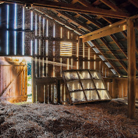 Let There Be Light by Bud Schrader - Buildings & Architecture Decaying & Abandoned ( farm, morning light, sears barn, barns, light beams,  )