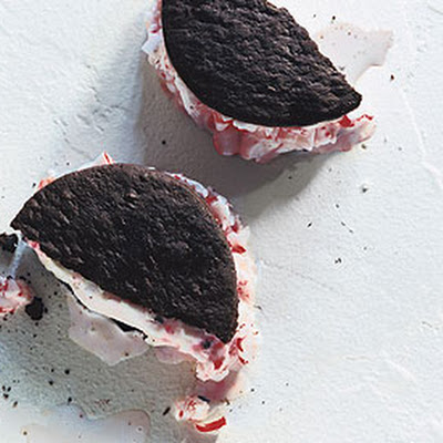 Chocolate and Peppermint Candy Ice Cream Sandwiches