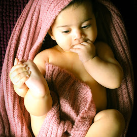 Hungry Already by Savneet Kaur - Babies & Children Babies ( eating hand, baby, cute, boy, hand in mouth )