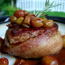 Roasted Grape Bacon Wrapped Filet Mignon