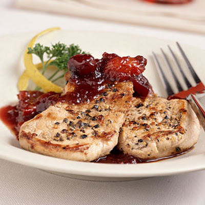 Peppercorn Pork Medallions with Cranberry Sauce