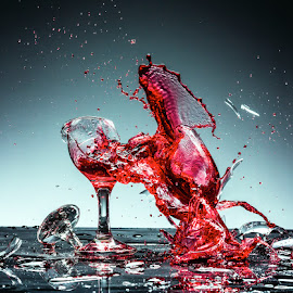 by Todor Lichev - Abstract Water Drops & Splashes ( red wine, splash photography, glass )