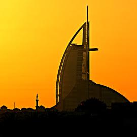 Sailing into the Sunset by Tamsin Carlisle - City,  Street & Park  Skylines ( dubai, sunset, silhouette, uae, burj al arab, dusk, city, hotels )