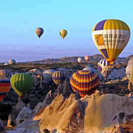 Cappadocia, Turkey by Andie Andros - Landscapes Mountains & Hills ( hot air balloon, the viewing deck, turkey, cappadocia )