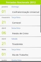 Screenshot of Calendário de Feriados 2015