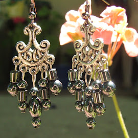 simple elegance  by Donna Wood - Novices Only Objects & Still Life ( chandelier, unique, dangle, one of a kind, hematite, jewelry, earrings, object, artistic )