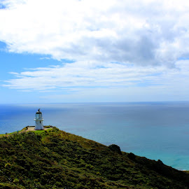 Cape Reinga Lighthouse  by Elise Graham - Landscapes Waterscapes ( sky, lighthouse, ocean, ocean view, new zealand )