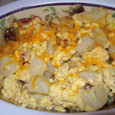 Scrambled Eggs/Bacon, Potatoes, Peppers and Onions and Sausage