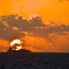 Passing ship by Clara Scarano Scubla - Novices Only Landscapes ( orange, ship, sunrise,  )