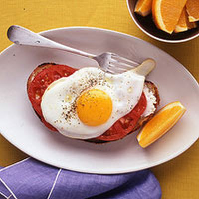Egg, Goat Cheese and Tomato Toasts