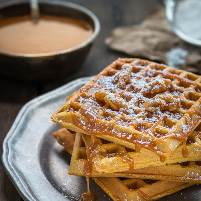 Egg Free Pumpkin Waffles with Salted Caramel Sauce
