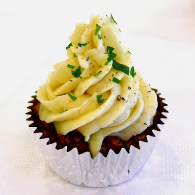 Sausage Meatloaf Cupcake with Creamy Potato Frosting
