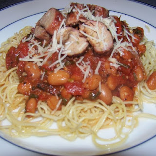 Grilled Turkey Sausage Pasta with Tomatoes and Cannellini Beans