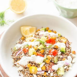 Roasted Chickpea Quinoa Greek Salad {Tzatziki Salad Dressing} – Guest Post!