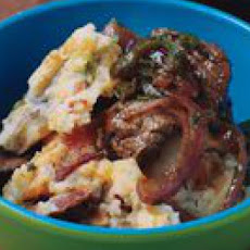 Mashed Super Skins with Steak-and-Pepper Hash