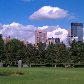 Home by Andrew Galatovic - City,  Street & Park  Skylines ( cherry, sculpture, skyline, minneapolis, summer, sunshine, perfect )