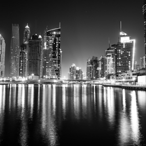 Dubai Marina by Aamir Munir - Black & White Buildings & Architecture ( black and white, dubai, buildings, dubai marina, marina )