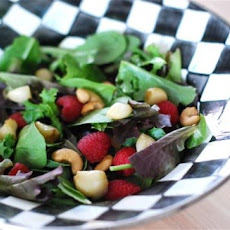 Roasted Garlic, Raspberry & Cashew Salad