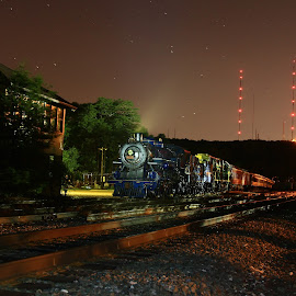 RBMN 425 sits in darkness at Penobscot by Troy Bankus - Transportation Trains ( steam train, rbmn, long exposure, 425, nightscape )