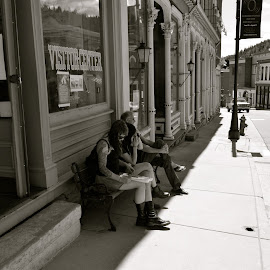 Center City Tourists, Colorado by Kathleen Koehlmoos - City,  Street & Park  Historic Districts ( old mining towns, traveling, center city, rocky mountains, mining towns of the rockies, tourism, family time, colorado rockies )