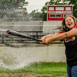 Water Balloon Batter Up by Michele Dan - Sports & Fitness Baseball ( girl's softball, batting practice, water balloons, baseball, softball )