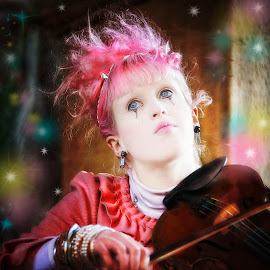 Dreaming by Heather Allen - People Musicians & Entertainers ( baroque, starts, violin, woman, steam punk, pink, musician, tribal, emotion,  )