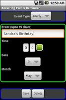 Screenshot of Recurring Events Reminder