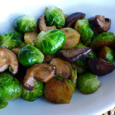 Sautéed Brussel Sprouts and Shitake Mushrooms with Truffle Oil