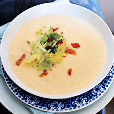 Celery-Root Soup with Bacon and Green Apple