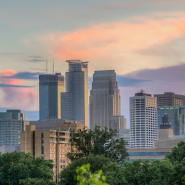 Cloud City by Mark Goodman - City,  Street & Park  Skylines ( skyline, minneapolis, sunset )