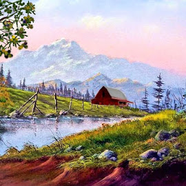 Barn in the mountains by Leslie Collins - Painting All Painting ( water, mountains, barn, trees, landscape )