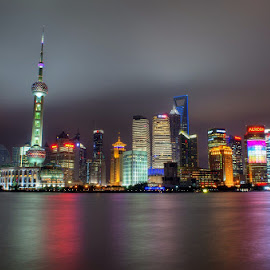 Shanghai Nights by Matthew Ferguson - City,  Street & Park  Skylines ( lights, colorful, night, shanghai, city )
