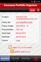 Screenshot of HDFC ERGO Insurance Portfolio