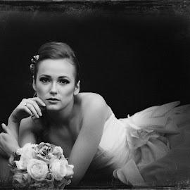 Bride by Monika Schaible - Wedding Bride ( black and white, wedding, monika schaible, wedding dress, flowers, bride, antique )