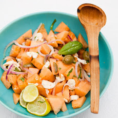 Cantaloupe Salad with Basil, Fresh Mozzarella & Onions