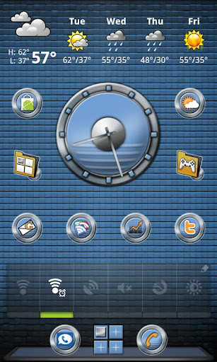 Metal Buttons:Blue ADW Theme