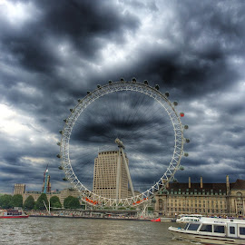 Big Wheel By Day by Nachau Kirwan - City,  Street & Park  Street Scenes ( water, london eye, london, thames, boats )