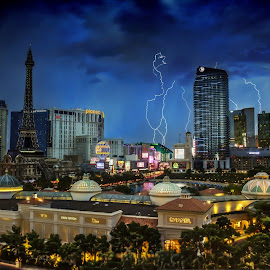 Thunder Storm by Linh Tat - City,  Street & Park  Night ( thunder, las vegas, paris, lightning, skylines, storm )