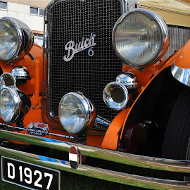 Orange & Yellow by Marco Bertamé - Transportation Automobiles ( car, orange, old, vintage, fllod light, american, chrome, oldtimer, yellow, bumper, luxembourg,  )