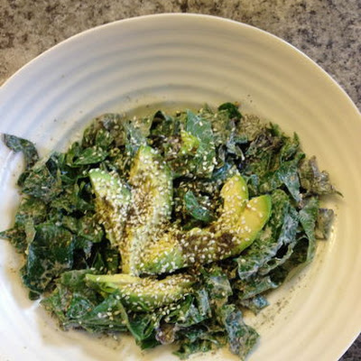 Crunchy, Creamy Collard & Kale Salad with Labneh, Almonds & Za'tar