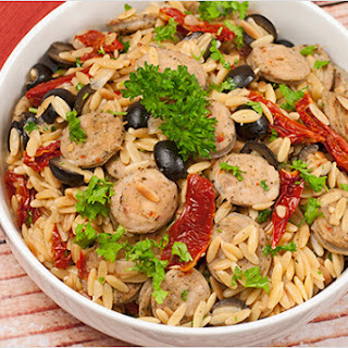 Toasted Orzo with Sausage and Sun-Dried Tomatoes