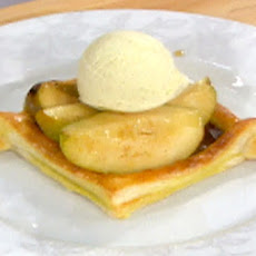Flambeed Cinnamon Pears in Voul-Au-Vents with Cardamom Ice Cream