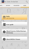 Screenshot of Concise Oxford German Dict. TR