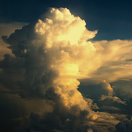 considerable cloudiness by Lisa Frisby - Landscapes Cloud Formations ( cloud formations, clouds, cotton, plane, sunset, sunsets, airplane, cloudscape, landscape photography, air, landscape, photography )