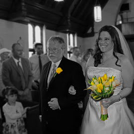 Down the aisle they go... by On the Lake Photography - Wedding Ceremony ( wedding photography, wedding, wedding dress, bride, father of the bride )