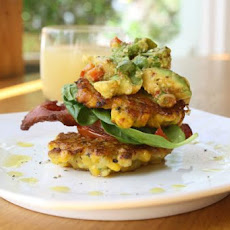Corn Fritters With Crispy Bacon, Roasted Tomatoes & Avocado