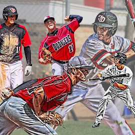 Baseball  by Dale Wooten - Digital Art People ( montage, high school, batting, baseball, digital art, pitcher, poster, photography, athlete )